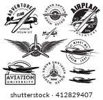retro pattern set of monochrome ... | Shutterstock .eps vector #412829407