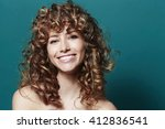 stunning young woman with curly ... | Shutterstock . vector #412836541