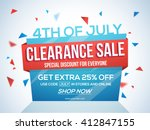 4th of july sale tag  clearance ... | Shutterstock .eps vector #412847155