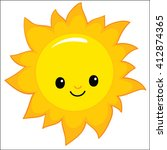 cartoon smiling sun  moon and... | Shutterstock .eps vector #412874365