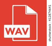 wav icon on red background.