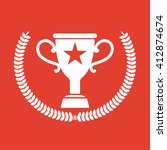 trophy icon on red background.