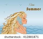 beautiful sweet girl with long... | Shutterstock .eps vector #412881871
