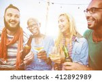 diverse summer beach party roof ... | Shutterstock . vector #412892989