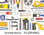 set of carpentry tools on white ... | Shutterstock . vector #412894861