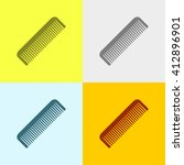 comb icon on four different... | Shutterstock .eps vector #412896901