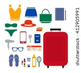 packing for traveling. open... | Shutterstock .eps vector #412905991