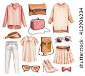watercolor fashion illustrations   Shutterstock . vector #412906234