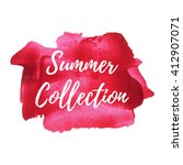 Summer Collection card on pink red painted background vector illustration | Shutterstock vector #412907071