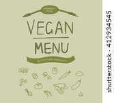 vegan menu. hand drawn... | Shutterstock .eps vector #412934545