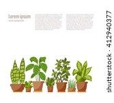 vector flat indoor plant pot... | Shutterstock .eps vector #412940377