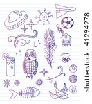 lined paper with doodles | Shutterstock .eps vector #41294278