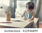 girl drawing imagination... | Shutterstock . vector #412946899