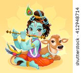 baby krishna with sacred cow.... | Shutterstock .eps vector #412948714