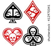 suits of cards with skulls | Shutterstock .eps vector #412970341