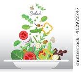 fresh vegetable and green leaf... | Shutterstock .eps vector #412972747