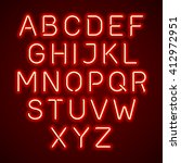 red neon light glowing alphabet.... | Shutterstock .eps vector #412972951
