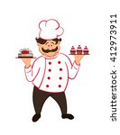 happy fat confectioner with ... | Shutterstock .eps vector #412973911