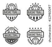 set of sport basketball logo.... | Shutterstock .eps vector #412983097