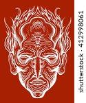 the head of an indian shaman.... | Shutterstock . vector #412998061