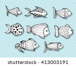 stylized fishes. aquarium fish. ... | Shutterstock .eps vector #413003191