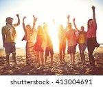 teenagers friends beach party... | Shutterstock . vector #413004691