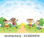 children are jumping on the... | Shutterstock .eps vector #413004934