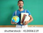 geography teacher. photo adult... | Shutterstock . vector #413006119
