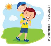 father and son bonding time.... | Shutterstock .eps vector #413010184