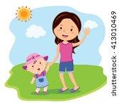 mother and daughter bonding... | Shutterstock .eps vector #413010469