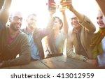diverse people friends hanging...   Shutterstock . vector #413012959
