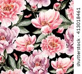 watercolor pattern with flowers ... | Shutterstock . vector #413018461