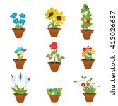 spring flowers in pots ... | Shutterstock .eps vector #413026687