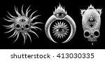 mystic symbols set. graphic... | Shutterstock . vector #413030335