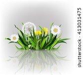 dandelion  green grass  yellow... | Shutterstock .eps vector #413031475