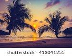 beautiful silhouette coconut... | Shutterstock . vector #413041255