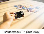 credit card concept with window ... | Shutterstock . vector #413056039