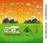 national mountain park camping... | Shutterstock .eps vector #413063434