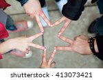 portrait of group of friends... | Shutterstock . vector #413073421