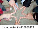 portrait of group of friends... | Shutterstock . vector #413073421