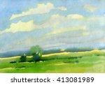 country landscape. field.... | Shutterstock . vector #413081989