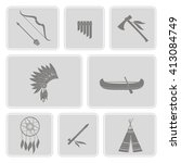 monochrome  set with american... | Shutterstock .eps vector #413084749