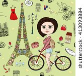 girl with bike in paris... | Shutterstock .eps vector #413093884