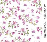 realistic sakura japan cherry... | Shutterstock . vector #413095459