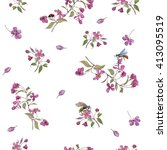realistic sakura japan cherry... | Shutterstock . vector #413095519