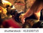 heating engineer repairing and... | Shutterstock . vector #413100715