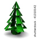 abstract 3d illustration of christmas tree over white background - stock photo