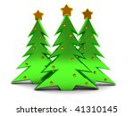 3d illustration of three christmas trees over white background - stock photo
