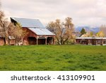 Rustic Barn On A Farm In Rural...