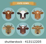 set of vector images of six... | Shutterstock .eps vector #413112205